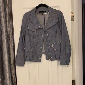 Dressy denim zippered silver accents jacket